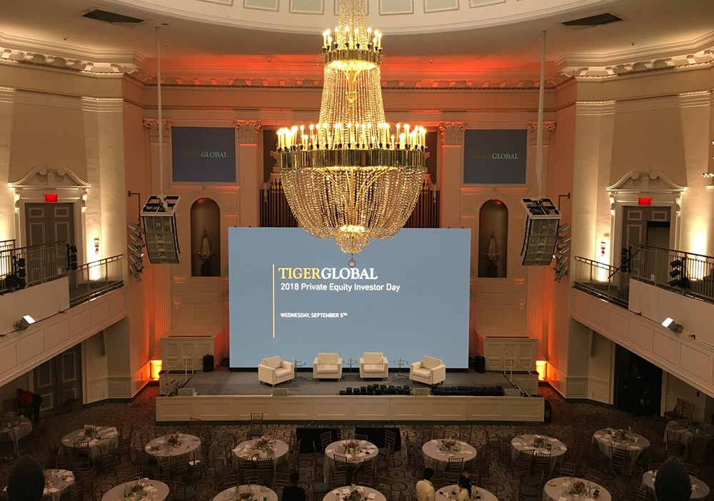 Tigerglobal 2018 Private Equity Investor Day Conference at 365 Park Avenue, NYC. Coleder Road Ready 2.9mm LED wall 28' x 17', 4K Novastar LED controller