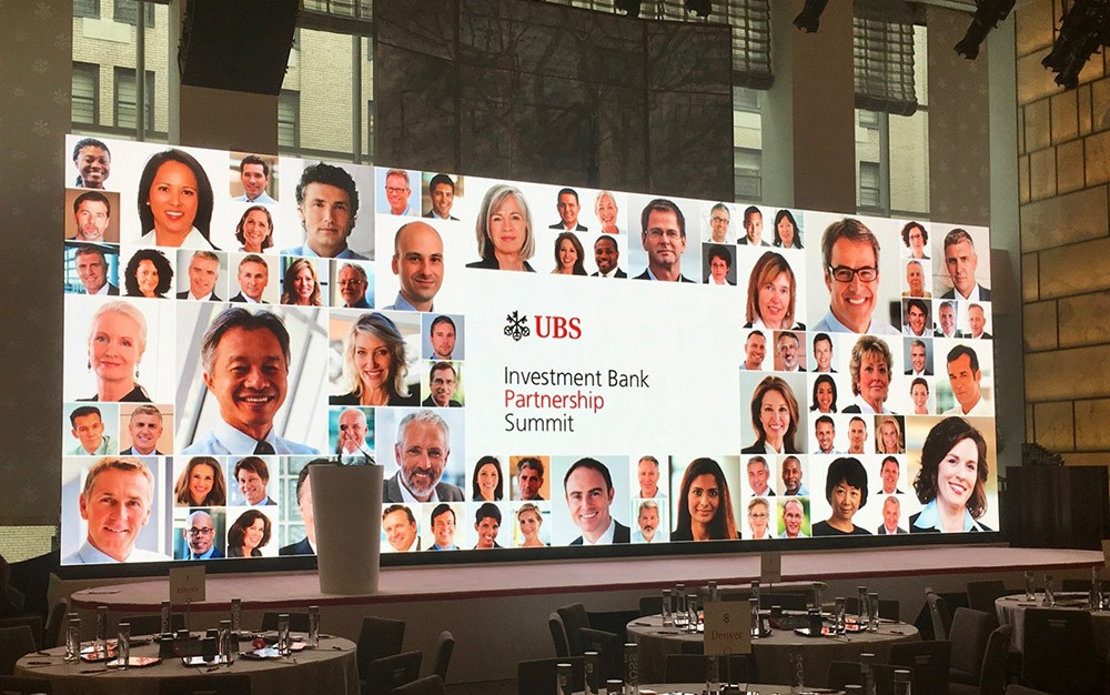 UBS Investment Bank Partnership Summit. Hyatt Central Park, NYC. Unilumin 3.9mm LED panels