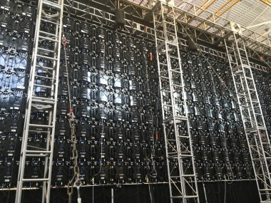 backstage big LED screen rigging