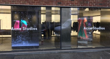 Acne Studios NYC. Digital Signage LED screen store window.