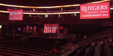 Rutgers commencement. Christie 14K-M projectors