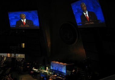 Kofi Annan speech at the UN. Projection screens, IMAG studio camera package