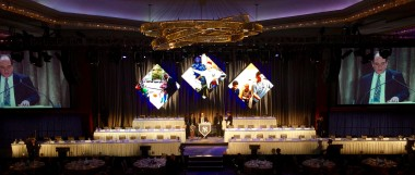 NY Yankees Homecoming dinner - combination of LED and projection screens