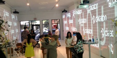 Jurlique store opening event. Watchout grid, 270 degree projection for digital signage. Panasonic DLP 7K projectors